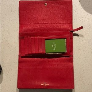 Kate Spade Sandra Soft Leather Trifold Red Wallet